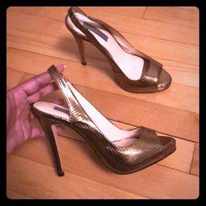 Metallic snake skin heels